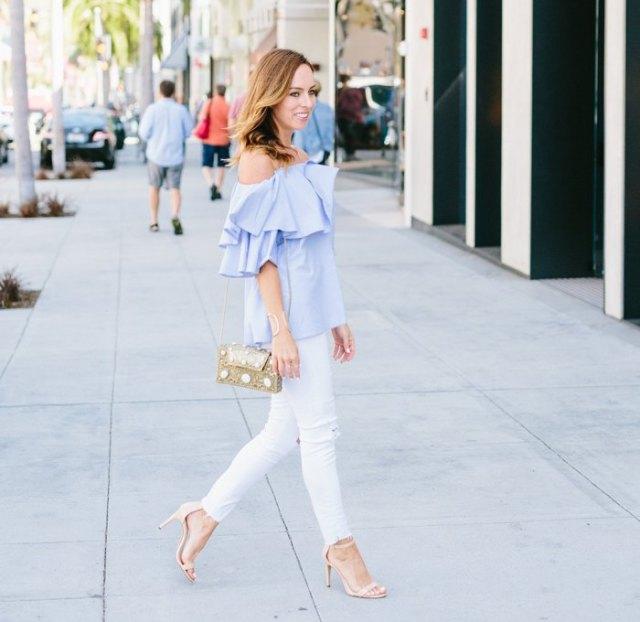 sky blue ruffled white white skinny jeans