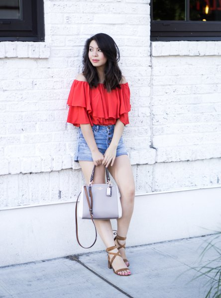 red ruffle top denim shorts