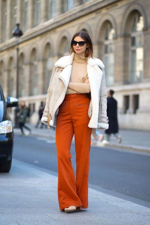 orange pants beige shearling