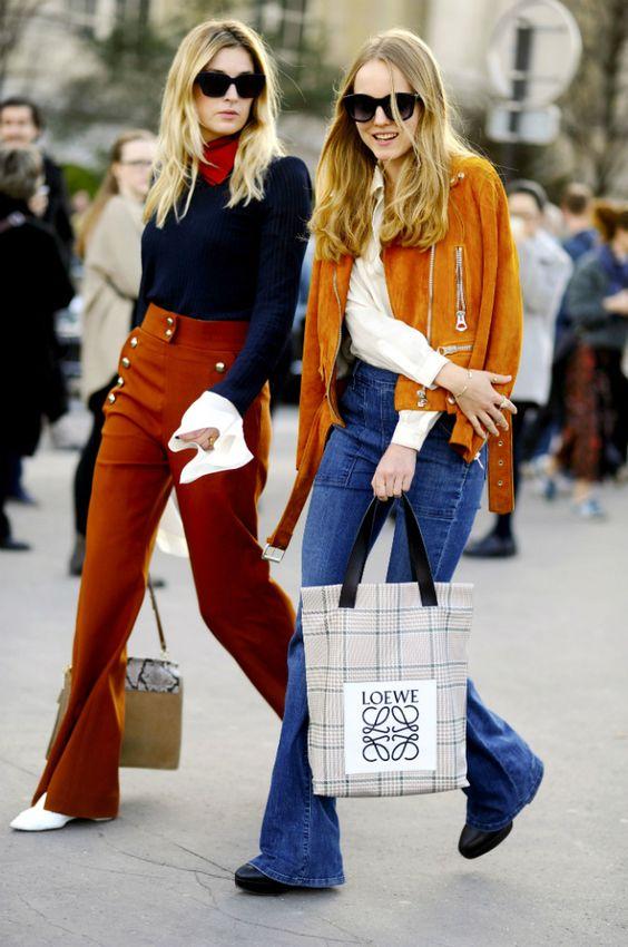 orange trousers navy blue