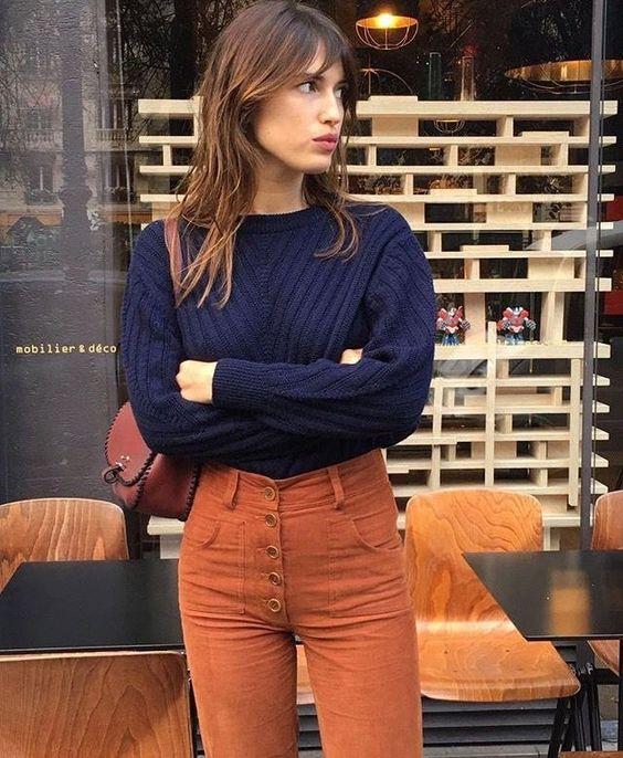 orange pants parisian chic
