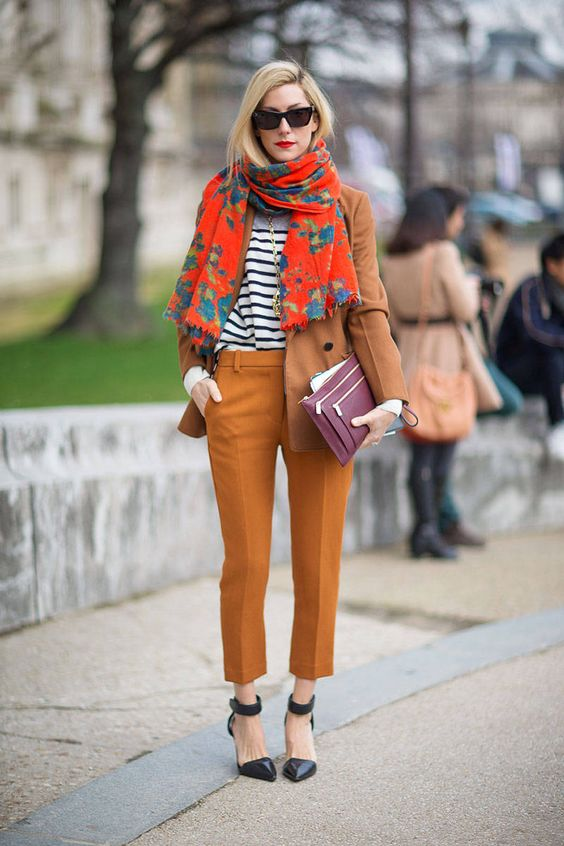 orange trousers floral print
