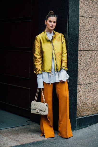 orange trousers gold jacket