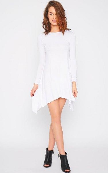 white long sleeve swing dress