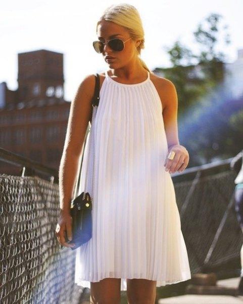 white halter pleated swing dress