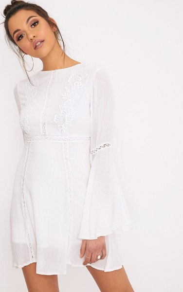 white watch sleeve airy dress