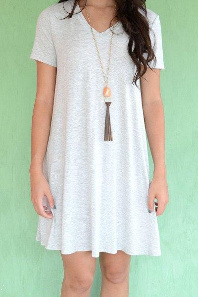 white t-shirt dress boho style necklace