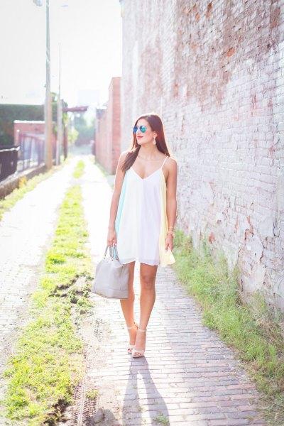 white spaghetti strap v-neck swing dress