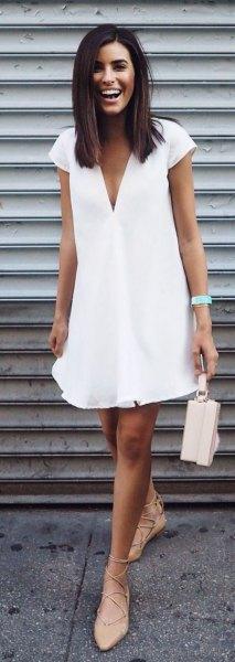 white cap sleeve deep v-neck swing dress