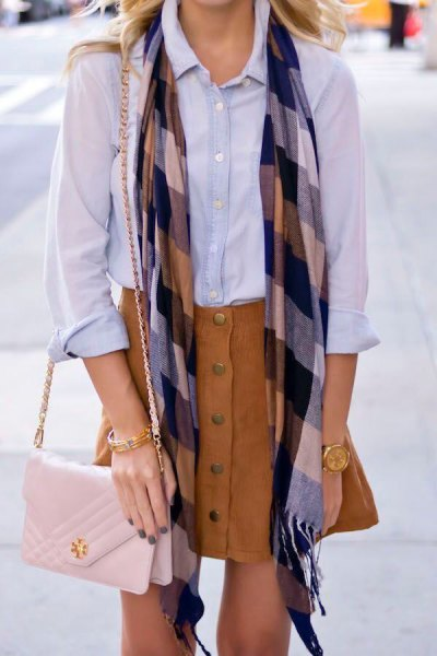 corduroy skirt chambray skirt plaid scarf