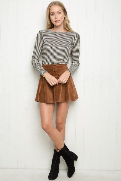 black and white long sleeve striped shirt skirt