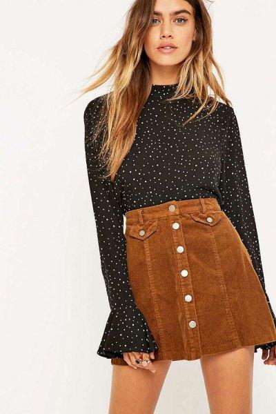 black and white polka dot bell blouse
