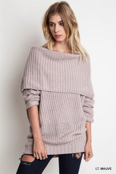 gray cove over shoulder ribbed sweater