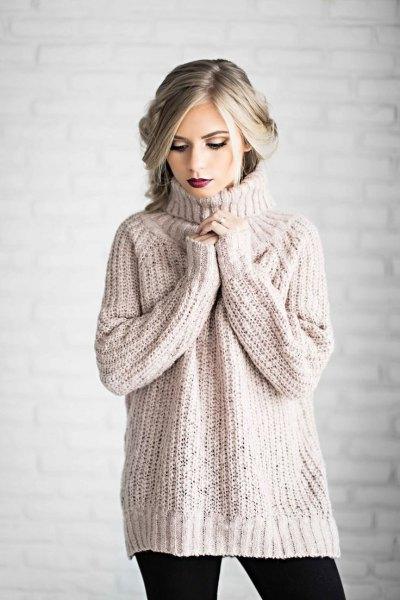 blush pink turtleneck chunky sweater