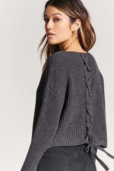 dark gray v-ribbed lace sweater