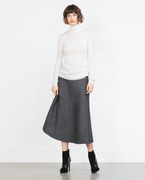 white mock neck sweater gray wool skirt