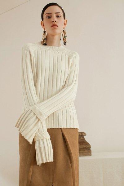 white ribbed camel wool skirt
