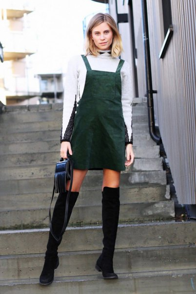 white turtleneck sweater high boots