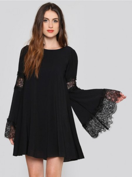 watch sleeve swing dress lace details