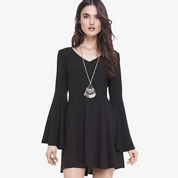 black skater dress boho style necklace