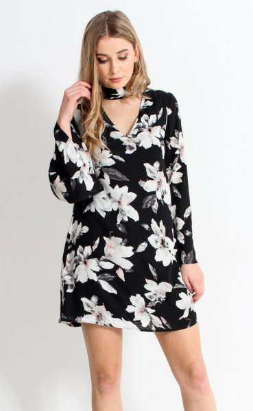 black floral watch sleeve dress choker