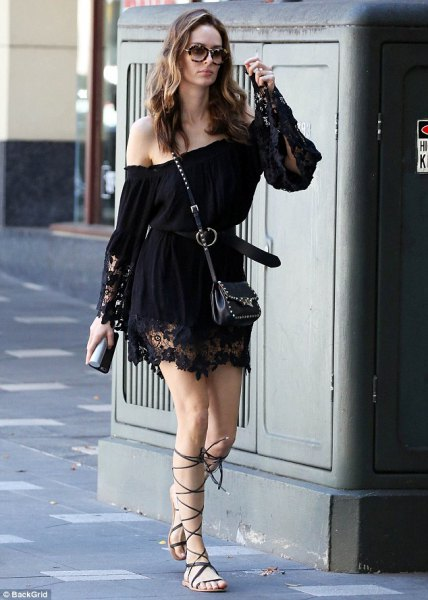 off shoulder black lace dress gladiator sandals