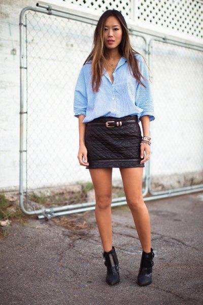 blue striped boyfriend shirt mini quilted skirt