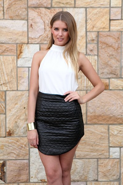 white halter top black high waist leather skirt
