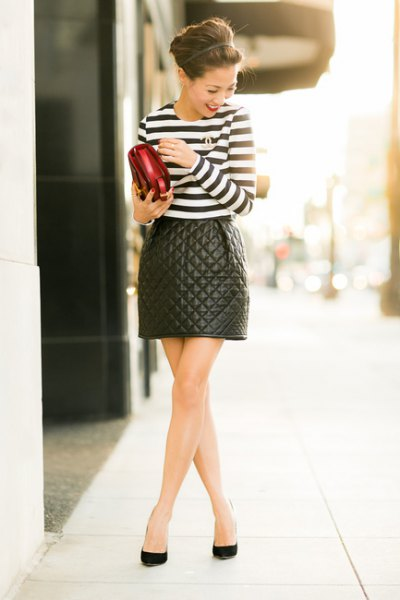 quilted skater skirt black and white striped tee