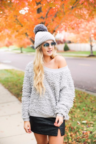 gray one shoulder chunky teddy shirt
