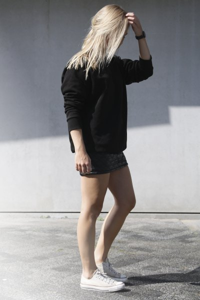 mini skirt black chunky knitted sweater