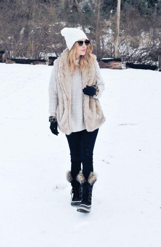 fur lined boots faux fur vest