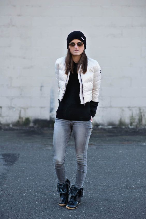 fur lined boots, cropped jeans