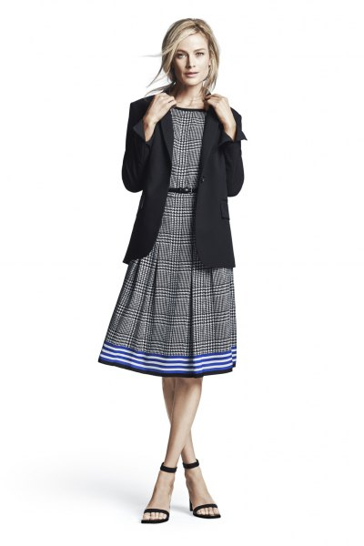 gray plaid belt flare midi dress black blazer