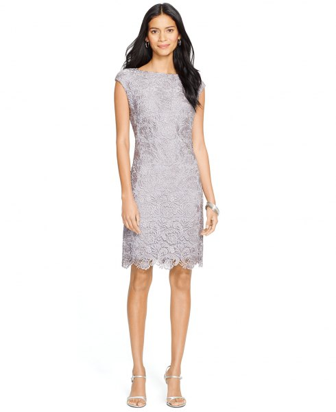 gray lace cap with sleeve, peeled dress at bottom