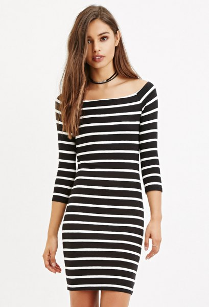 black and white striped bodycon dress with boat neck