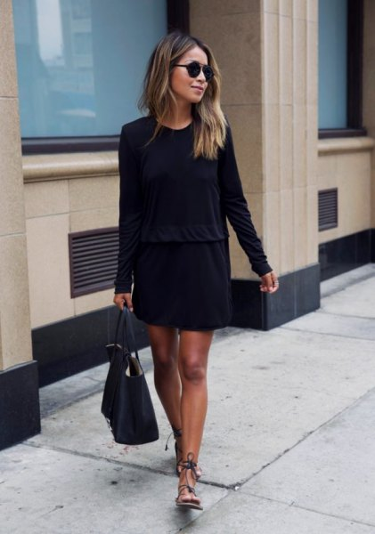 sandals with long sleeve swing dress