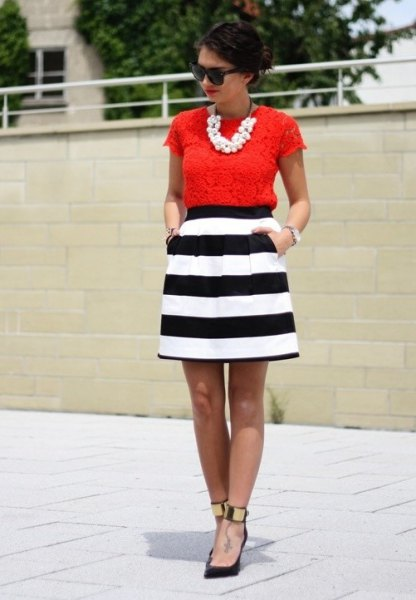 striped skater dress red lace top