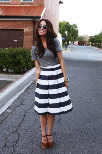 black and white striped flare midi dress gray tee