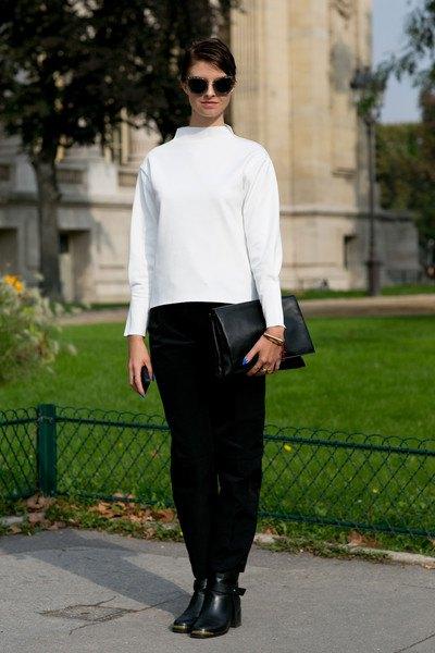 white mock neck sweater black pants