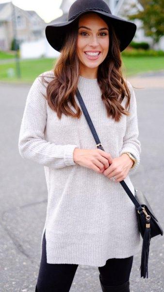 gray mock neck knitted sweater black floppy hat