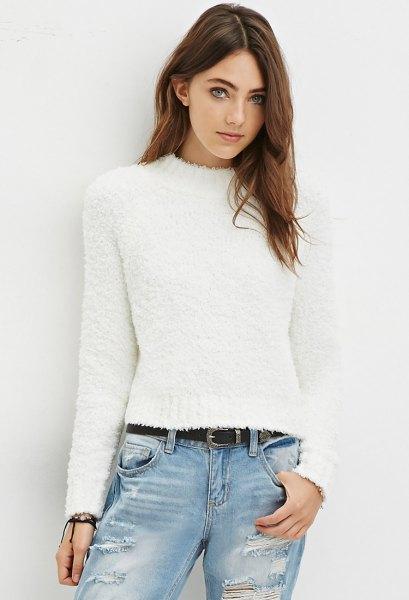 white fuzzy mock neck sweater boyfriend jeans