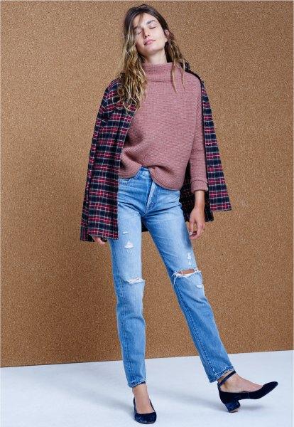gray mock neck sweater plaid wool jacket