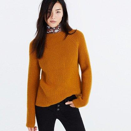 green chunky mock neck knit sweater silk choker scarf