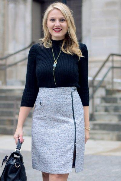 black mock neck sweater gray tweed pencil skirt