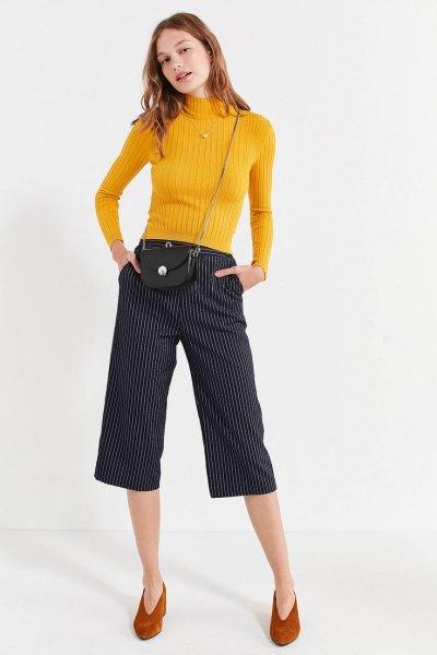 lemon yellow mock neck knitted sweater
