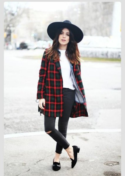 navy blue and red long jacket black felt hat