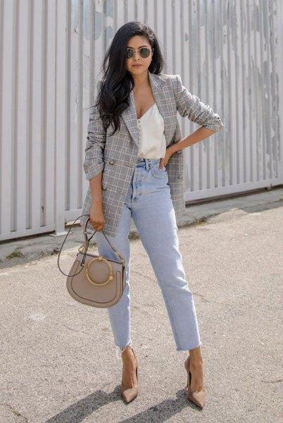 white deep v-neck vest top mom jeans