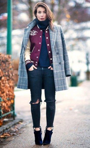 gray plated wool coat over baseball jacket
