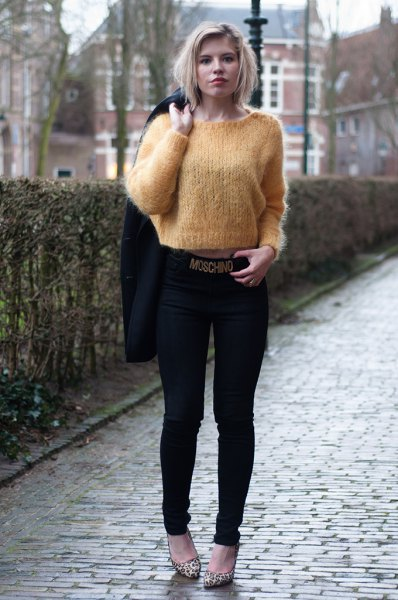 green cropped mohair sweater black skinny jeans